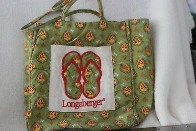 Longaberger Small Flip Flop Sunflower Paisley Green Tote Bag Euc