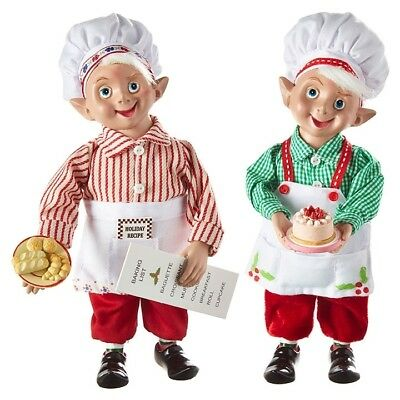 "RAZ Imports 10"" Kitchen Baker Chef Elf Elves Set/2 Holding Baked Goods Christmas"