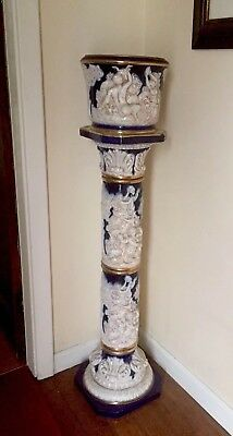 Antique Large Jardiniere On Matching Stand Very Heavy