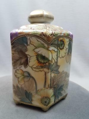 Antique Hand Painted Nippon 6 sided Cracker Jar Flowers Gold Moriage w HAIRLINE
