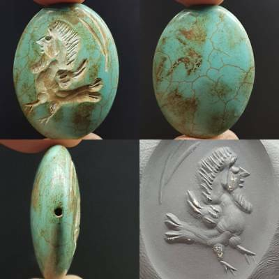 Unique Old Rare Seal intaglio King Face Cock Chicken Turquoise Stone Bead # 4D