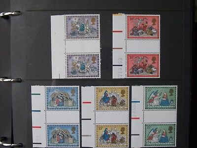GB stamps - 1979 Christmas issue in marginal Gutter Pairs - MNH