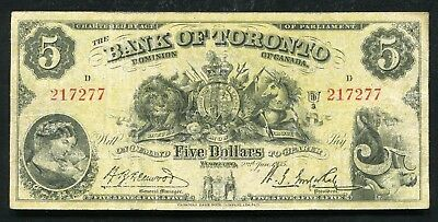1935 $5 The Bank Of Toronto Canada Charter #715-24-02 Banknote