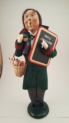 Byers Choice Male Caroler Teacher  with Chalkboard and Basket of Candy Canes