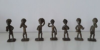 Lot of 7 x Ashanti Akan Gold weight  brass Figures - All different - See photos