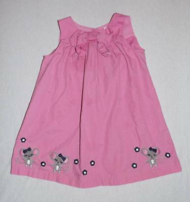 Gymboree miss mouse pink dress size 3T HCB blue flowers gray mice