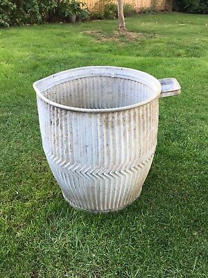 Galvanised Ribbed Dolly wash tub Vintage Architectural Reclamation Garden Plant