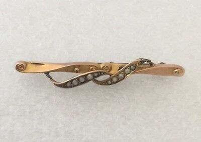 Antique 9Ct Gold And Seed Pearl Brooch - Scrap Or Repair - 1.5 Grams
