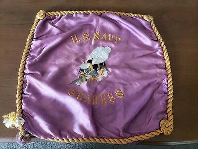 Ultra Rare Original Wwii Hand Embroidered Navy Sea Bees Patch  Pillow Cover