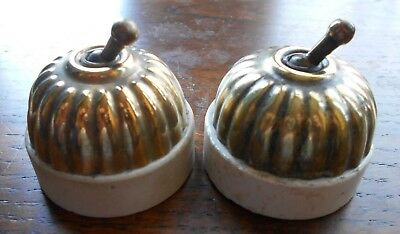 pair Antique Jelly Mould Brass & Ceramic Light Switches