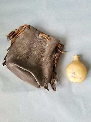 Two Antique / Vintage Objects, Leather Bag & Small Rawhide Bottle