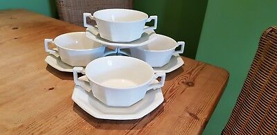 4 Johnson Bros Heritage Soup Coupes & Saucers