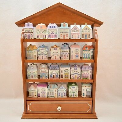 Brooks and Bentley by Lenox 1991 Porcelain Spice Village Houses with Rack