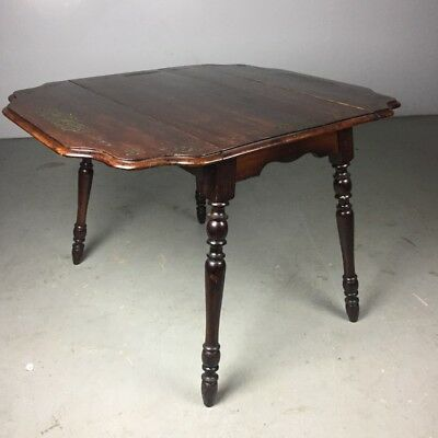Vintage Dropleaf Dining Room Table Dark Wood Tones with Spun Legs Rustic 70's