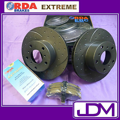 SLOTTED AND DIMPLED Front Brake Discs & RDA EXTREME Pads for Falcon BA, XR6 XR8