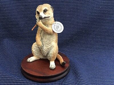 Boxed Country Artists Meerkat Baby Sitting Eating On Plaque