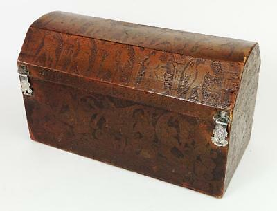ARTS & CRAFTS GREEK REVIVAL LEATHER CASKET c1890
