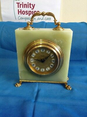 Battery Operated Tel Art Green Onyx and Brass  Mantle Clock