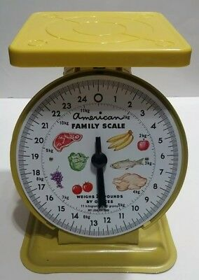 American Family Scale Yellow Vintage Kitchen Scale Weighs 25 Pounds by Ounces