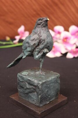 Vintage Pigeon or Dove Cast Iron Metal Bronze & Gold Painted Figurines Hot Cast
