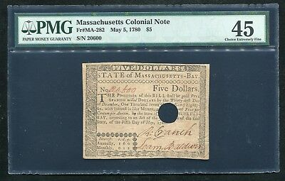 Ma-282 May 5, 1780 $5 Five Dollars Massachusetts Colonial Note Pmg Ef-45
