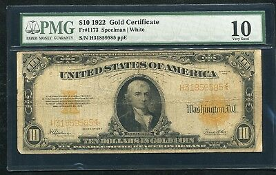 Fr. 1173 1922 $10 Ten Dollars Gold Certificate Currency Note Pmg Very Good-10