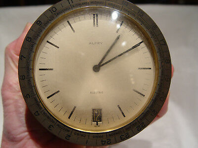 Alfry Swiss Made World Date & Time Electric Clock Marked W T C 8/2/72 Brass Base