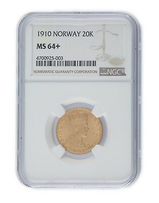 1910 Norway 20 Kroner Gold Coin Graded MS-64+ by NGC! KM #376