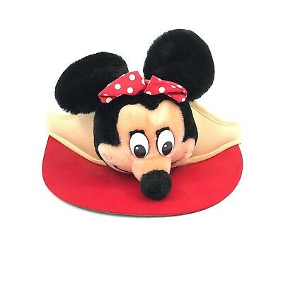 3b6fa808b59 VTG MINNIE MOUSE Disneyland Walt Disney World Sun Visor Hat Adjustable 70s- 80s -  29.99