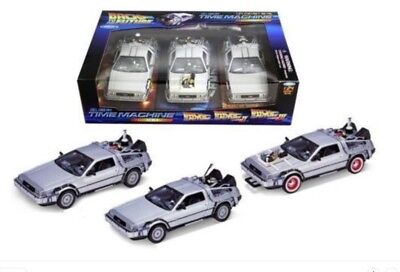 1:24 Scale Delorean DMC Back to the Future Trilogy Set Of 3  Diecast Model Cars