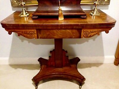 ANTIQUE: Marquetry 19th Century Walnut Card Table (GOOD CONDITION)
