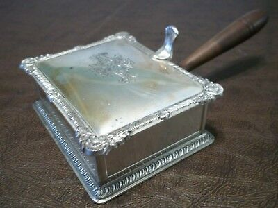 Antique Silver plated Ash Tray with wooden handle
