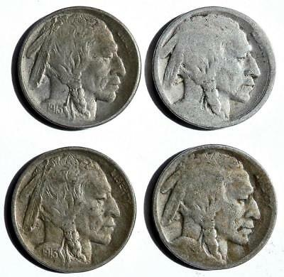 1913 + Indian / Buffalo NICKELS lot of 4