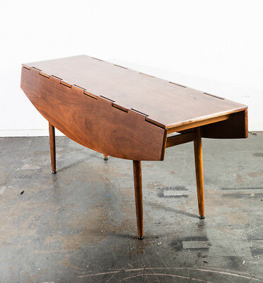 MID CENTURY MODERN Dining Table Drexel Parallel Leafs Fold Up Walnut - Mid century modern folding dining table
