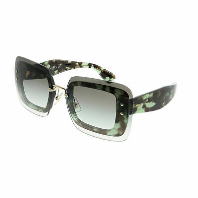 ff7bbb25b0be Miu Miu MU 02RS UAG0A7 Green Havana Square Sunglasses Green Gradient Lens