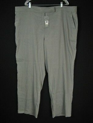 NWT $248 Eileen Fisher Linen Pewter Gray Straight Trouser Pants Plus Sz 24W