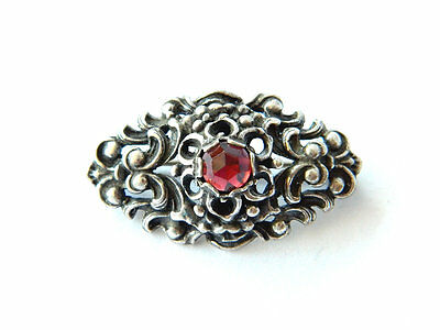 Gothic Revival French Silver Brooch w/ Garnet Gemstone Authentic Antique Jewelry