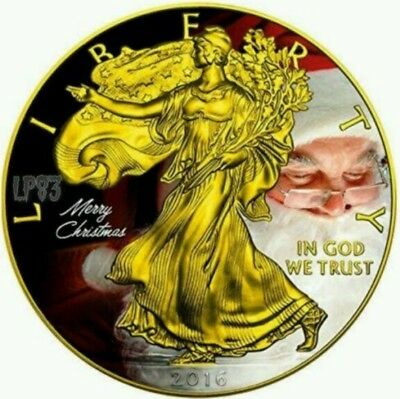 2016 1 Oz Silver $1 CHRISTMAS EAGLE Coin WITH 24K GOLD GILDED.