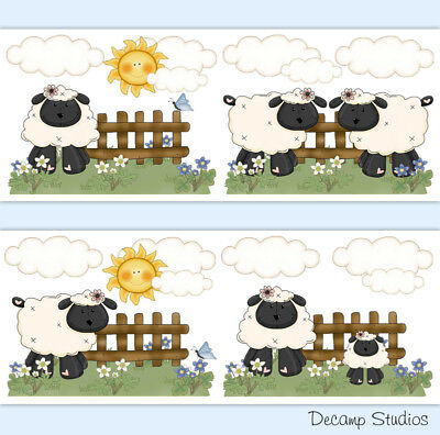 Sheep Farm Animal Baby Girl Nursery Wallpaper Border Wall Art Decals Kids Room