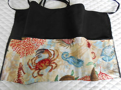 Waitress Waist Apron 3 POCKET Black Server Crabs Sea Horse W/WO Name Lady Pizazz