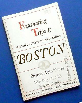 """1935 BOSTON tour guide book by AMOCO American Oil Co """"Fascinating Trips"""""""