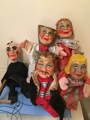 Lot King, Queen, Lady, Witch, 5 Theater Puppets Plaster Heads, Handmade Clothes