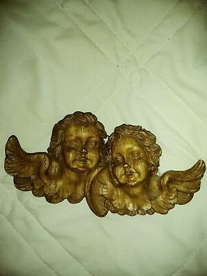 Vtg Hand Carved WOOD CHERUB ANGEL PUTTI twins  Head▪Wall Decor Hanging GERMANY