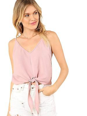 d80d9e48b4adc MakeMeChic Women s Casual V Neck Button Seft Tie Front Crop Cami Tops  Camisole