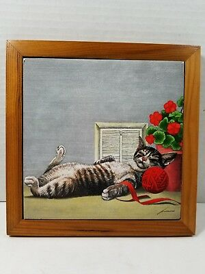 Vintage 1987 Vandor Lowell Herrero Framed Tile, Tabby Cat w/Geraniums, Red Yarn
