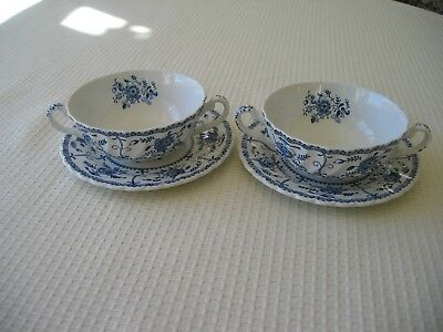 Indies Johnson Bros 2 Soup Bowls and 2 Bread and Butter Plates