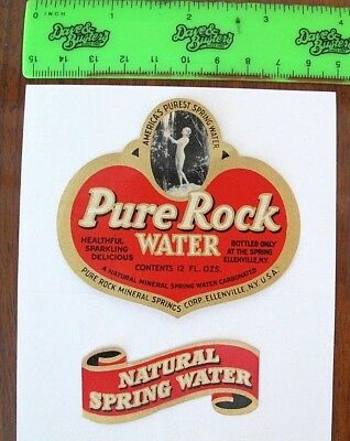 Pure Rock Water bottle labels,1930's-1940's? Ellenville, NY Mineral Springs Nude