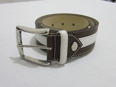 LONGCHAMP white and brown leather belt free size made in France
