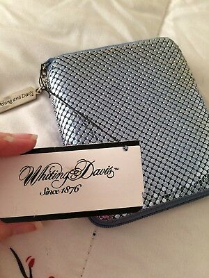 Whiting & Davis Blue Mesh Zip Wallet