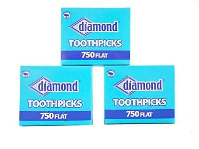Wooden Flat Toothpicks 3-pack 2250 Total Tray Box